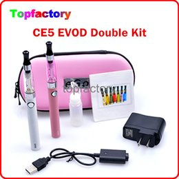 Wholesale CE5 EVOD E Cig Dual Kits mah mah mah EVOD Batteries CE5 Atomizers Double Kits Wall Charger with big case kit Various Colors