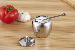 Wholesale Stainless Steel Sugar Bowls - 2016 Hot Sale Freeshipping Stainless Steel Sugar Bowl Apple Shape Tea Coffee Sugar Storage Jar with Cover and Spoon Detachable Lid Sugar Jar
