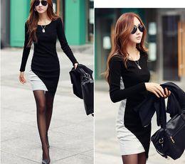 Wholesale Korean Fashion Casual Vestidos Patchwork Irregular Hem Women Dress Long Sleeve Casual Bottoming Slim Winter Dress Black Grey G0852
