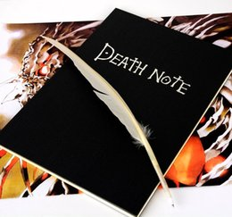 Wholesale PrettyBaby big size x19cm New Death Note Cosplay Notebook Feather Pen Book Animation Art Writing Journal book pen death