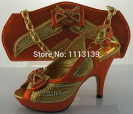 Wholesale Fashion design ORANGE high heel african italian shoes and matching bags for wedding party evening dress ME2207 Size38