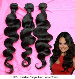 Wholesale Free Shiping Loose Wave Bundle QWB Virgin Brazilian Hair A Grade No Corn Chip Smell