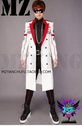 Male singer nightclub fashion runway looks white, black letters double-breasted suit long money costumes. S - 6 xl