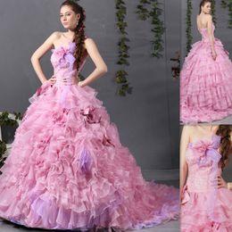 Wholesale Vestidos Festa De Anos Light Pink Quinceanera Dresses Ball Gowns Organza Strapless Floor Length Ruffles Puffy Australia Party Dress