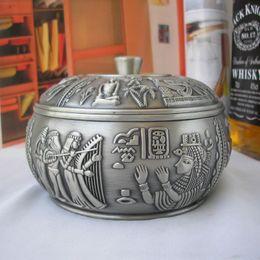 Wholesale cm unique vintage rare round antique tin metal smoking smokeless cigar cigarette ashtray ash tray with cover lid B