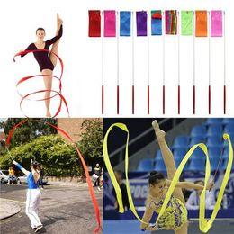 Free DHL New 4M Gymnastics Colored Ribbon Gym Rhythmic Art Ballet Dance Ribbon Streamer Twirling Rod Stick Multi Colors