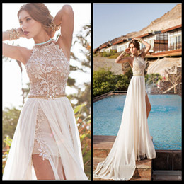 Romantic Julie Vino Lace Beaded Chiffon High Low White Lace Prom Dress Long 2016 Party Dress Side Slit Spring Evening Party Gown