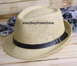 Wholesale-Paper straw trilby jazz hat sun hat beach, PU leather band with buckle 3 colors available 58cm