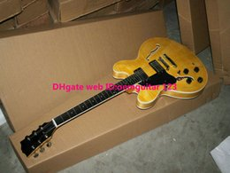 Left Handed Guitars Yellow Flame 335 Jazz Guitar ebony fingerboard wholesale guitars from China