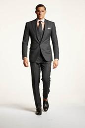 Wholesale-Jacket+Pants+Vest Business Men Tailored Suits Grey Wedding Tuxedo for Men Custom Made Men's Prom Suits plus size groom prom suit