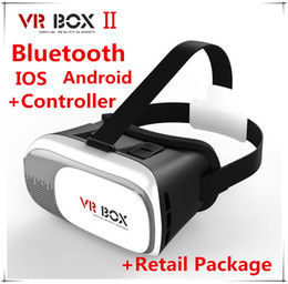 Wholesale DHL Google Cardboard VR BOX II Virtual Reality D Glasses Game Movie with Controller for iPhone Samsung Mobile Phone