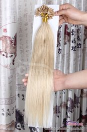 "100s 18""-22"" Indian Remy Prebonded Fusion Keratin Nail Tip U Tip Human Hair Extensions Bleach Blonde #613,0.5g per strand"
