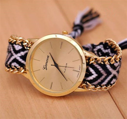 Wholesale Best Brand New Fashion Handmade Bracelet Chain Watch Hand woven Black Watches Fabric Strap For Women Ladies Wristwatches