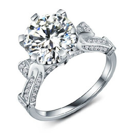2CT Solitaire 2014 Designer Gold Synthetic Diamond Engagement Ring For Women 18K White Gold Jewelry Ring AU750 Geniune Gold Ring