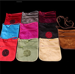 HOT fashion Tranditional Chinese Embroidery silk Packaging Pouches Jewelry Travel Storage satin passport Bag Mix Color