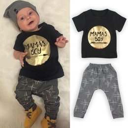 Wholesale NWT Cute Cartoon MAMAS BOY Baby Girls Boys Outfits Set Summer Sets Boy Cotton Tops Harem Pants Suits Kid Shirts Golden Gold
