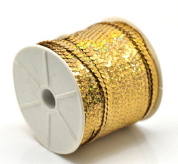 Wholesale Fashion 4 Roll Gold Tone AB Color Sequins Trim 6mm For Garment Sequins Accessories Free Shipping P1449