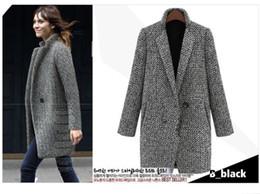Otoño Invierno Houndstooth lana capa de la manera solo botón Negro y negro larga sección WoolBlends casaco feminino OXL102202 single button black coats on sale desde solo botón abrigos negros proveedores