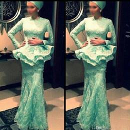 Mint Green Muslim Evening Dresses Sleeves 2019 Lace Mermaid Floor Length Long Formal Prom Gowns With Peplum Saudi Arabia Dubai