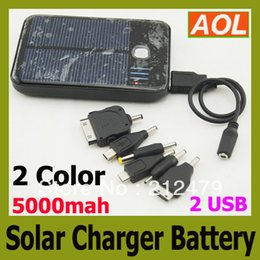 Wholesale high quality full power Solar Panel USB OutPut Energy Battery Charger mAh for Nokia Samsung Sony Erission