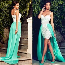 Adorable Short Mini Prom Dress with Detachable Train Lace Cocktail Dresses Spaghetti Straps Turquoise Custom Made Evening Party Gowns