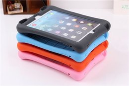 Hot Sale!! Portable Soft silicon Kidproof shockproof silicon case cover for ipad mini ipad 2 3 4 for ipad5 6 with holder DHL