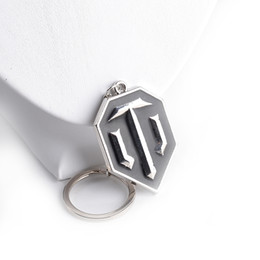 Wholesale Metal Alloy WOT WORLD OF TANKS ICON VIDEO GAME BRASS PENDANT keychain black enamel key rings