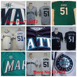 Wholesale Seattle Mariners Jersey Ichiro Suzuki Jersey White Throwback Jerseys Authentic Baseball Shirt Blue White Green Gray Cheap