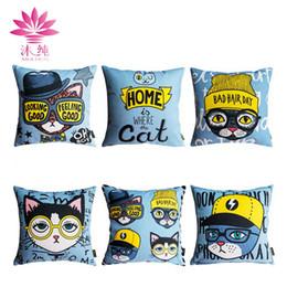 muchun Brand Christmas Decor Pillow Case Cool Cat 2017 New Arrival 45*45cm Christmas Cotton Linen Home Textiles Decorative Pillow Cover