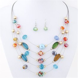 Wholesale Necklaces And Earrings Fashion Jewelry Sets Joker Bohemian Crystal Multilayer Colorful Beads Jewelry Set