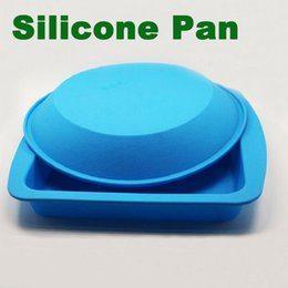Wholesale Ship Silicone Cake Pan - 100% food grade cupcake pans kitchen tools silicone tray round square shaped non stick silicone baking pan bakeware moulds free shipping