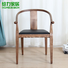 Wholesale Antique finish solid wood chair modern ikea round backed armchair Chinese style leisure chair creative dining chair color