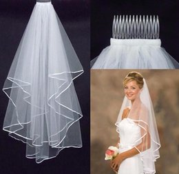 2016 Cheapest Two-Layer wedding dresses cheap Wedding Veils Real Garden Veils Shoulder-Length With Comb High Quality White Veils for Wedding
