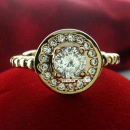 18k gold Filled woman Engagement wedding white sapphire ring Sz 8 r224