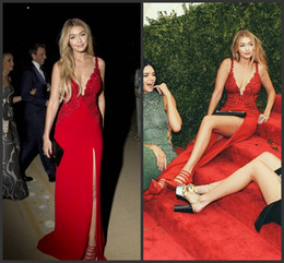 Wholesale 2015 Best Selling Lace Applique Deep V Neck Slim Line Met Gala Red Capet Celebrity Dresses No Sleeve High Slit Sexy Evening Prom Dress Gowns
