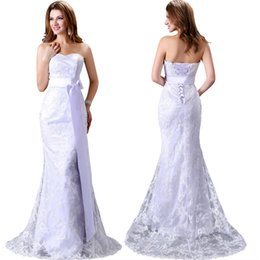 Wholesale Grace Karin Luxurious Beautiful White Lace Design Sexy Lace Up Strapless Bridal Wedding Dress Mermaid CL2527