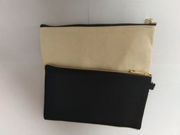1pc Black &Beige cotton canvas cosmetic bag with gold zip unisex casual coin purses blank make up bag size 19.5cm*11cm