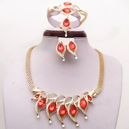 Fashion 18K Yellow Gold Filled Red Sapphire Garnet Necklace Earrings Bracelet Ring Women Costume Jewelry Sets Wedding Accessories 709