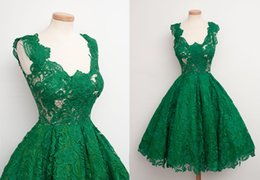 Wholesale Emerald Green New Short Prom Party Dress Real Sample Lace Ball Gown Cocktail Homecoming Dress