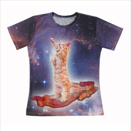 FG1509 2015 New Galaxy Animal printing short sleeves men women Bacon Cat 3D All Over Print T shirt Casual t shirt Free shipping
