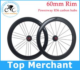 Wholesale Full carbon fiber road bike wheels wheelset C mm rim no stickers no paint exposed carbon glossy finish with powerway R36 carbon hubs