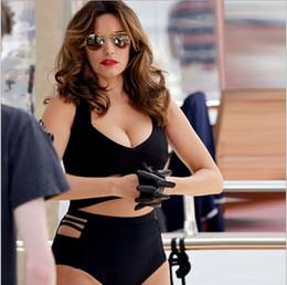 2017 xl negro tankini 2016 XL ~ 3XL Bikini rayado negro atractivo de las mujeres empuja hacia arriba el traje de baño Bikiní rellenado femenino del bañador fijado más la ropa de playa del verano del tamaño xl negro tankini Rebaja
