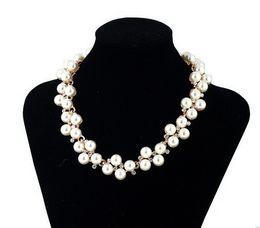 Wholesale Fashion Jewelry Pendant Crystal Chain Chunky Statement Pearl Bib Necklace