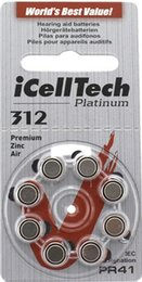 Wholesale 80 iCellTech High Performance Hearing Aid Batteries Zinc Air A312 PR41 Battery for CIC Hearing aids
