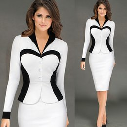 Womens Work Office Formal Dress Long Sleeve V neck Slim Bodycon OL Clothes Cotton Polyester S M L XL XXL