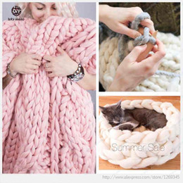 Wholesale Korean Style g M Super Thickness Natural Merino Wool Chunky Yarn Felt Wool Roving Yarn for Spinning Hand Knitting Spin Yarn Winter Warm