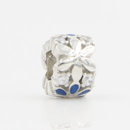 Wholesale DIY Silver Beads Fits Pandora Bracelet & Necklace New Original 925 Sterling Silver Blue Flower Charm Beads Lucky Sonny Store LB-19