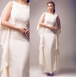 New 2016 Ankle Length Evening Gowns Elegant Sheath Lace Applique Beaded Formal Evening Gowns With Ruffles