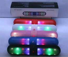 Wholesale 2015 Newest Pill Bluetooth speakers Sound MP3 TF AUX USB Acoustics Portable Audio Player Music Speaker With LED