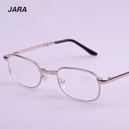 Wholesale Sale New Solid Alloy Eyeglasses Frame JARA Rectangle Full rim Folding Portable Presbyopia Hyperopia Old Man Reading Glasses